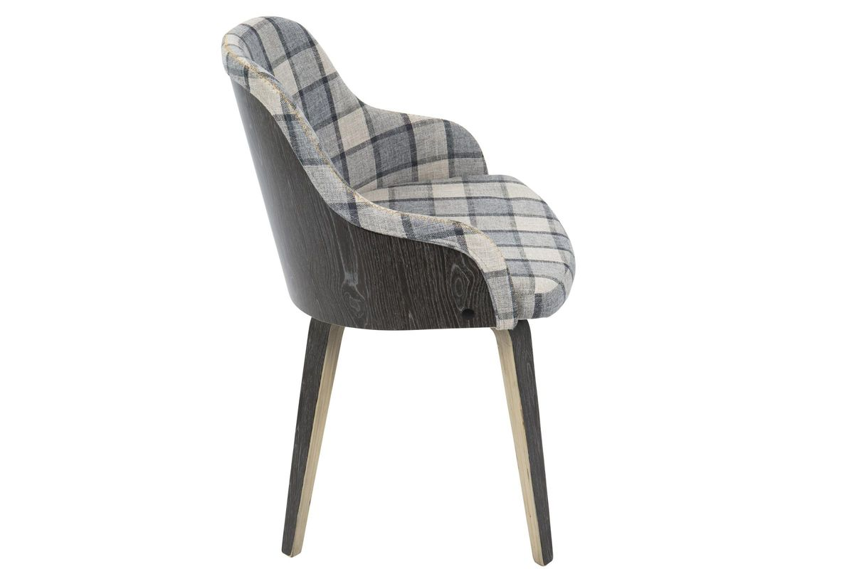 Bacci Mid-Century Modern Accent Chair in Grey Plaid by ...