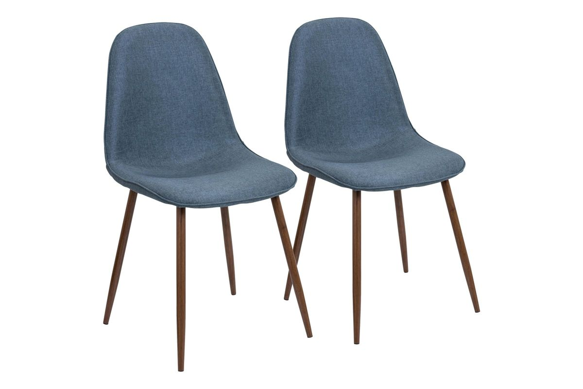 pebble mid century modern dining chairs set of 2 in walnut and blue by lumisource. Black Bedroom Furniture Sets. Home Design Ideas