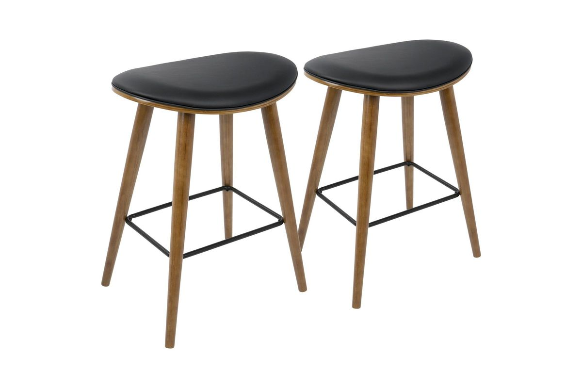 Brilliant Saddle 26 Mid Century Modern Counter Stools Set Of 2 In Walnut And Black By Lumisource Gmtry Best Dining Table And Chair Ideas Images Gmtryco