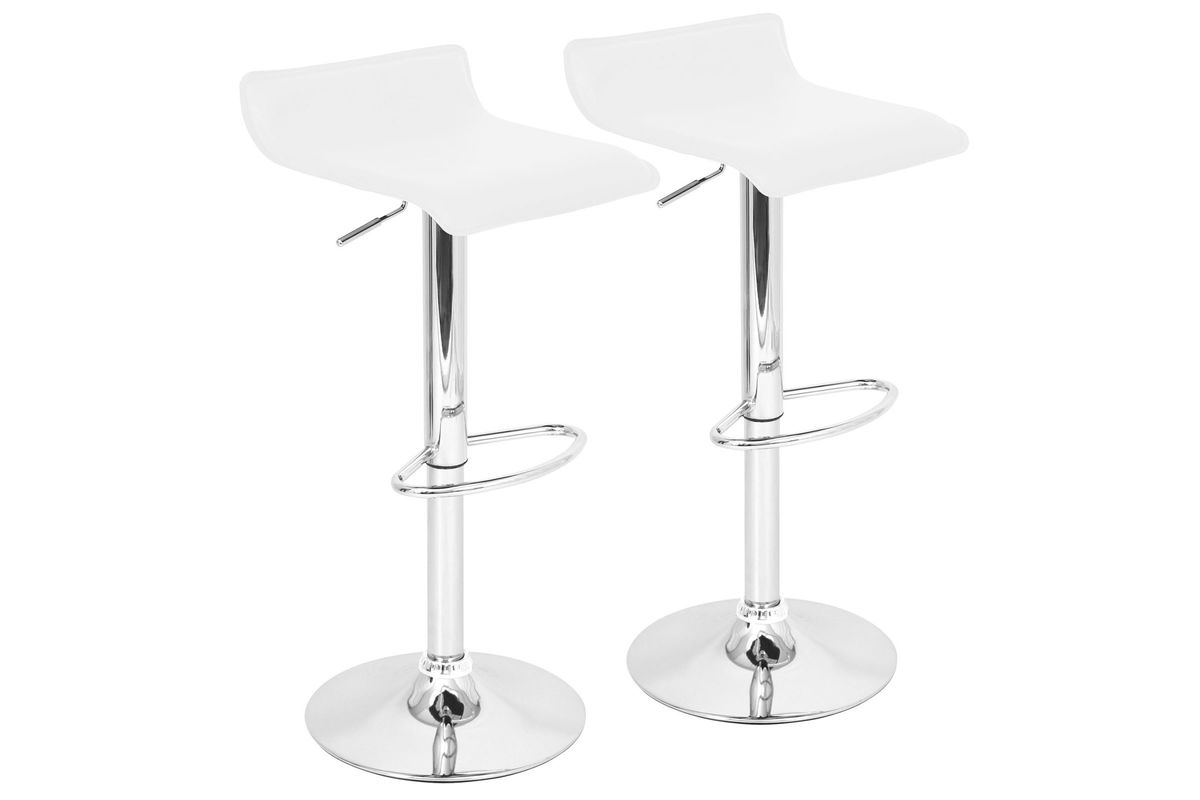 Sensational Ale Contemporary Adjustable Bar Stools Set Of 2 In White By Lumisource Alphanode Cool Chair Designs And Ideas Alphanodeonline