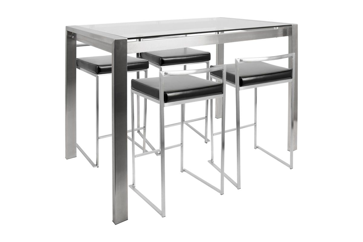 Fuji Contemporary Counter Height Dining Set in Stainless Steel and Black by LumiSource from Gardner-White Furniture