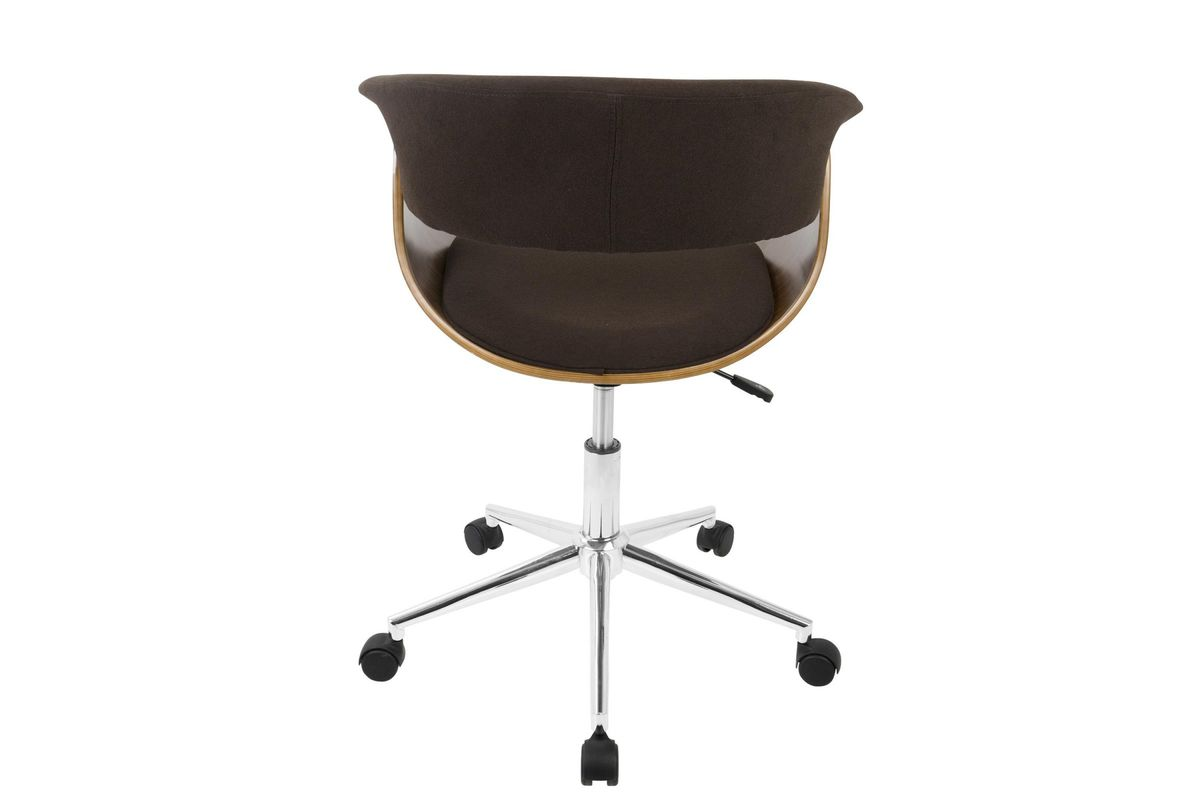 Vintage Mod Mid Century Modern Office Chair In Walnut And