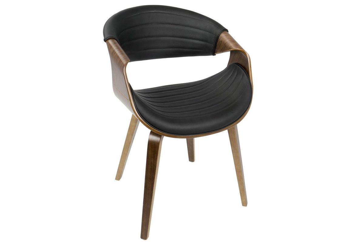 Symphony Mid Century Modern Accent Chair In Walnut And Black By