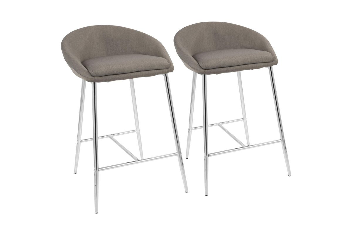 Matisse Glam 26 Counter Stools Set Of 2 In Grey With Chrome By