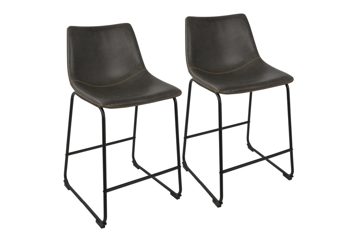 Duke Industrial 26 Counter Stools Set Of 2 In Charcoal By Lumisource