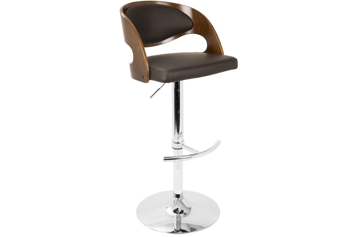Pino Mid-Century Modern Adjustable Bar with Swivel in Walnut and Brown by LumiSource from Gardner-White Furniture