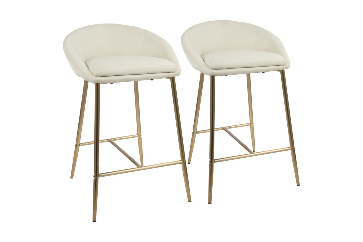Phenomenal Matisse Glam 26 Counter Stools Set Of 2 In Cream And Gold By Lumisource Gamerscity Chair Design For Home Gamerscityorg