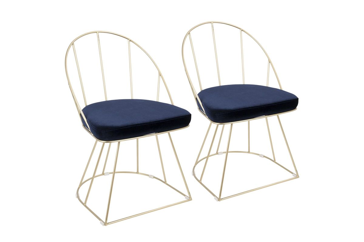 Genial Canary Contemporary Dining Chairs (Set Of 2) In Gold And Blue Velvet By  LumiSource