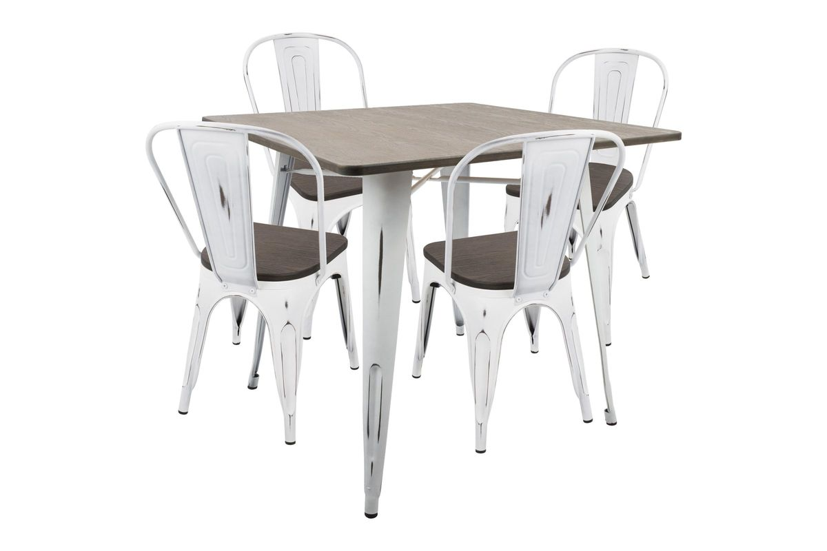 Oregon 5pc Industrial Farmhouse Dining Set in Vintage White and Espresso by LumiSource from Gardner-White Furniture