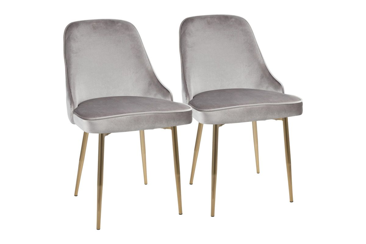Marcel Contemporary Dining Chairs Set Of 2 In Grey Velvet And Gold