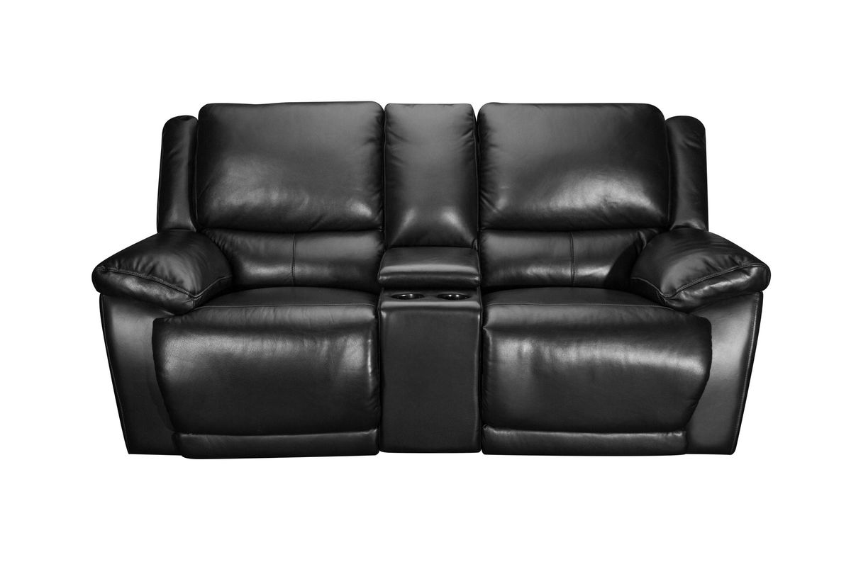 Bermuda Leather Power Reclining Loveseat With Console At Gardner White