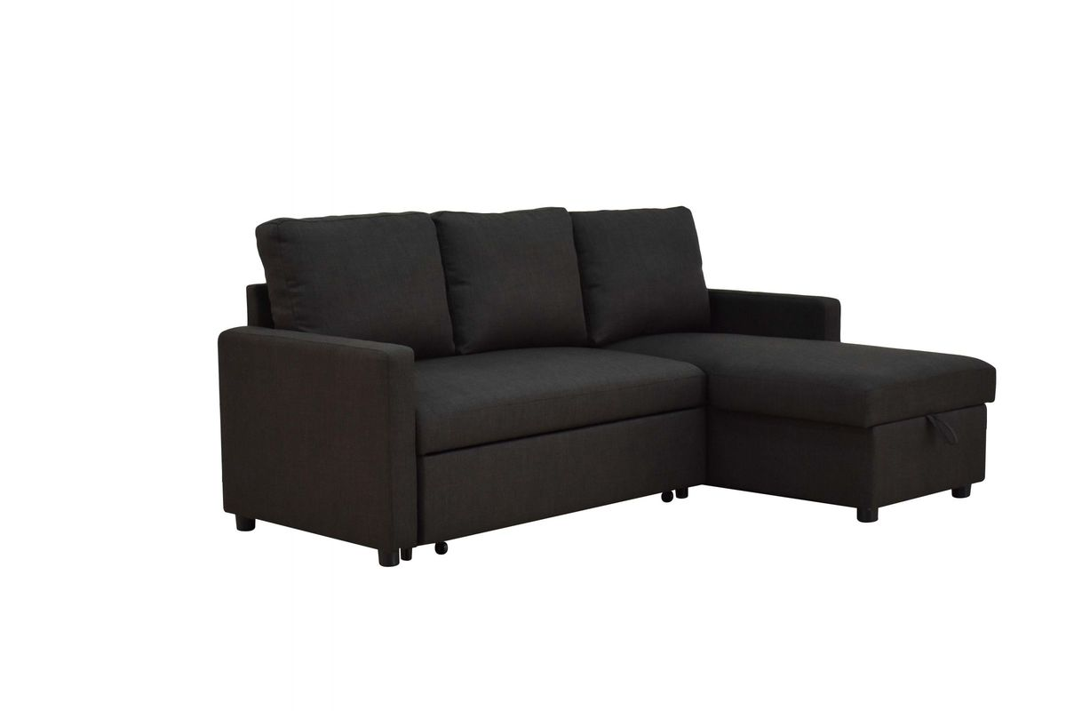 hiltons sectional sleeper sofa with storage in charcoal by acme. Black Bedroom Furniture Sets. Home Design Ideas