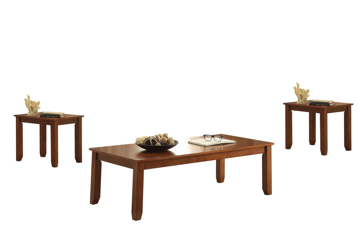 maine 3 piece coffee and end table set in cherry by acme
