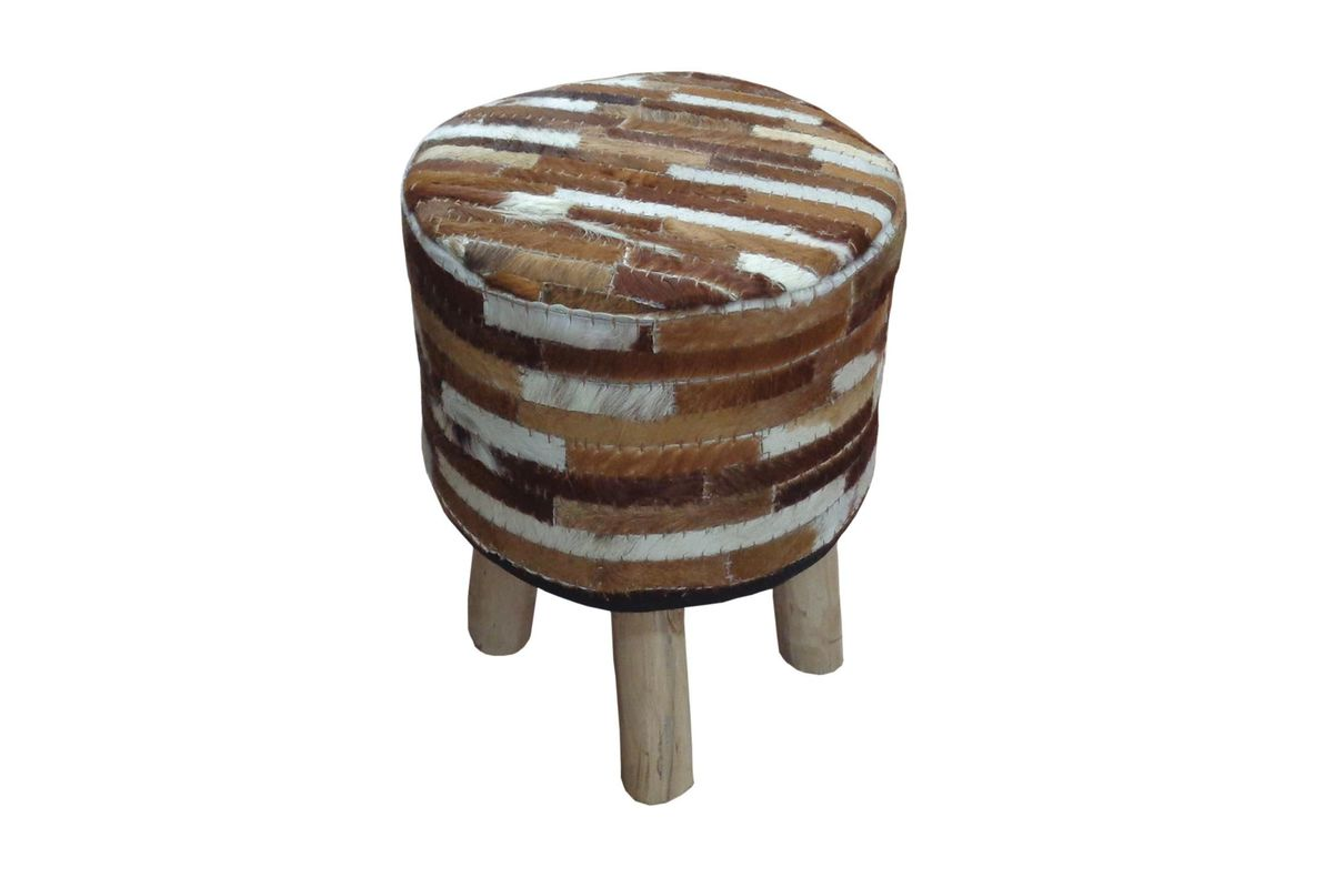 Magnificent Republic Ii Stool In Ivory Brown Hide Leather By Acme Pabps2019 Chair Design Images Pabps2019Com