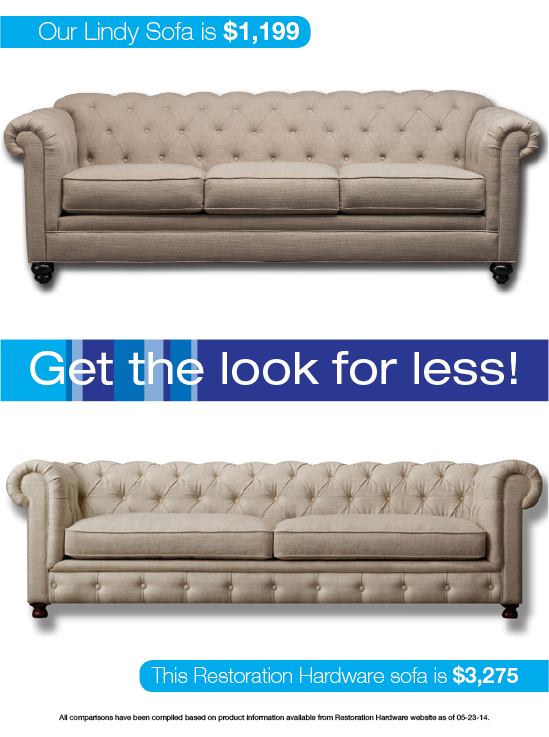 Look For Less: Trendy Transitional Sofa