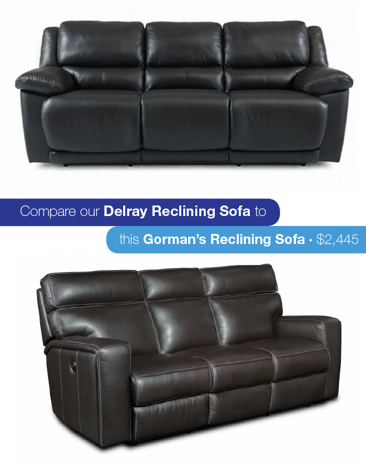 Nothing says luxury like a supple, leather sofa. Add dual recliners and that is what dreams are made of. Think our Delray Leather Reclining Sofa could get ...