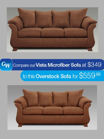 looks for less save 210 with our vista microfiber sofa gardner white blog. Black Bedroom Furniture Sets. Home Design Ideas