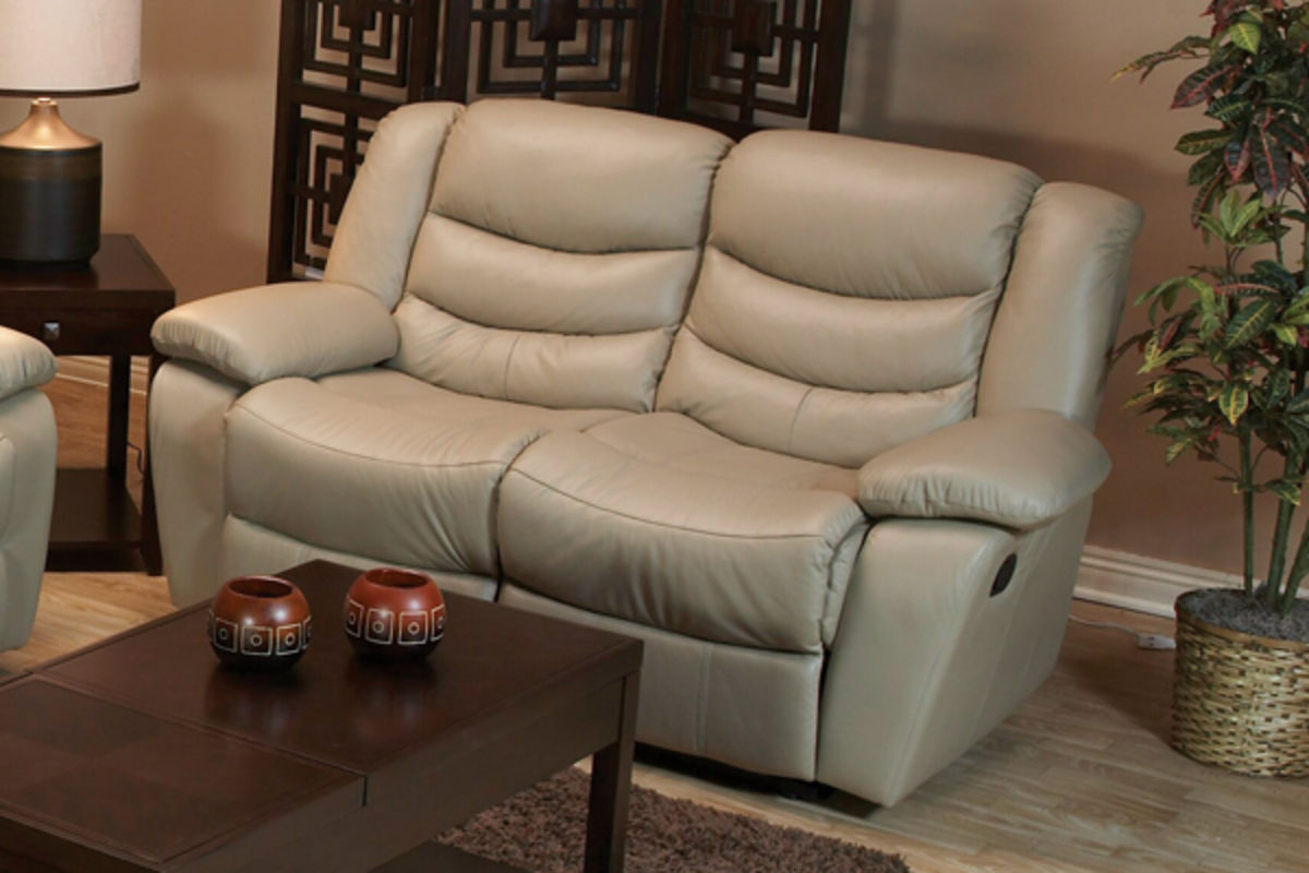 Milano Taupe Leather Reclining Sofa Loveseat Recliner