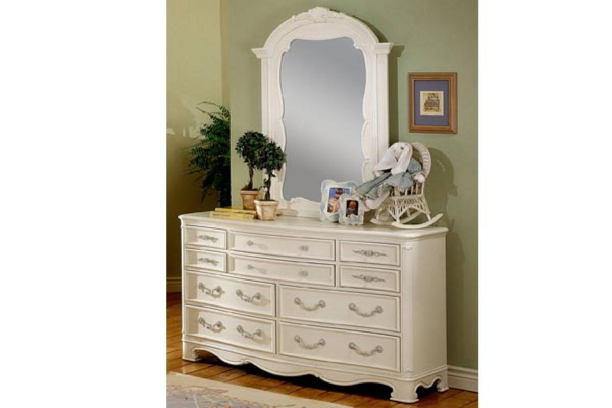White Nightstand And Dresser: Michelle Twin Bed, Dresser, Mirror, Chest & Nightstand