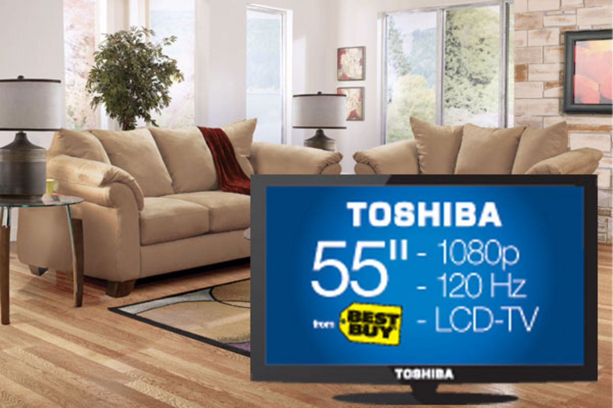 olympia sofa loveseat 3 tables a 55 hdtv from best buy. Black Bedroom Furniture Sets. Home Design Ideas