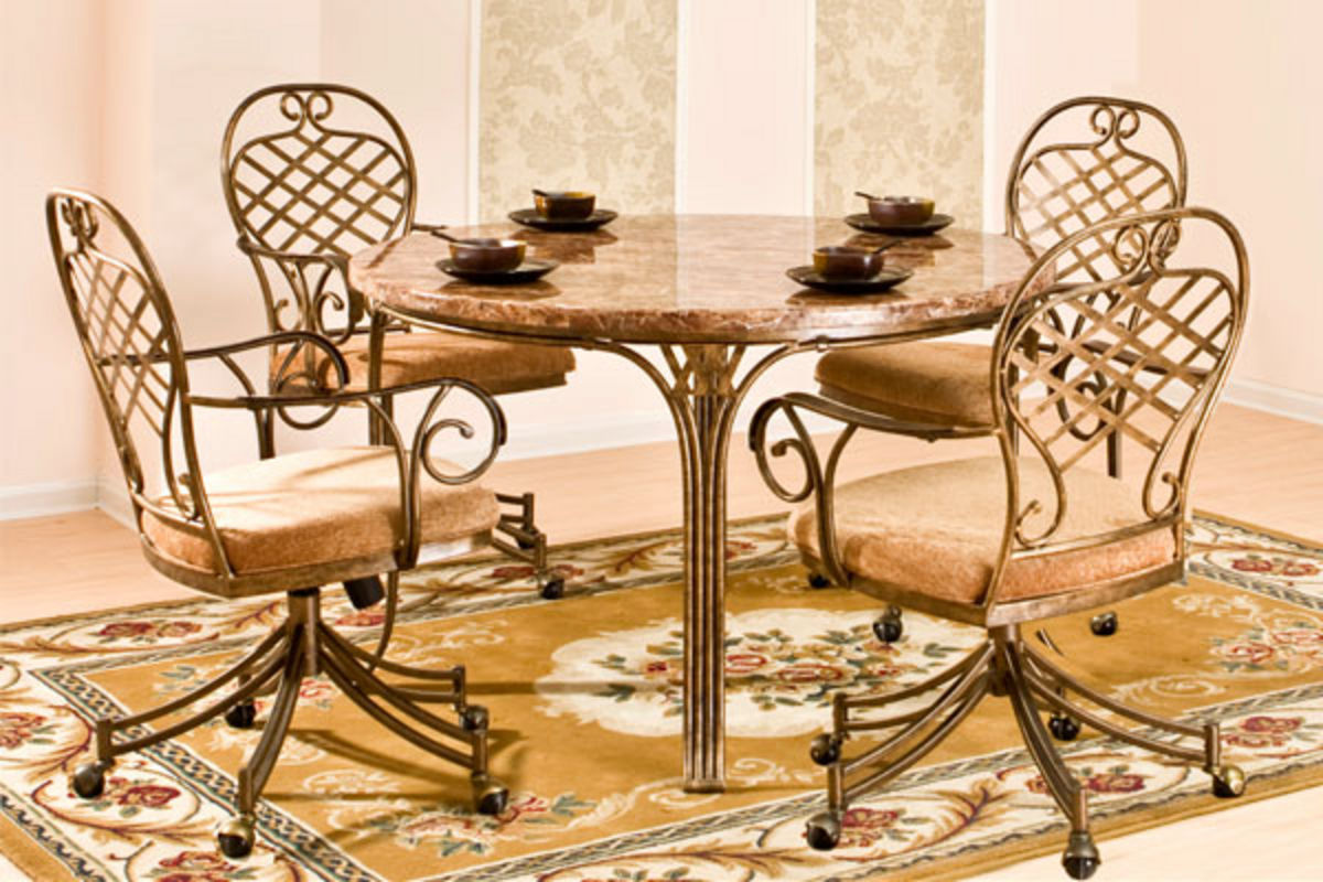 allegra round table 4 caster chairs at gardner white. Black Bedroom Furniture Sets. Home Design Ideas