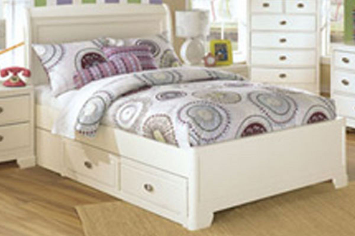 Alyn full sleigh bed with side storage at gardner white for Gardner storage