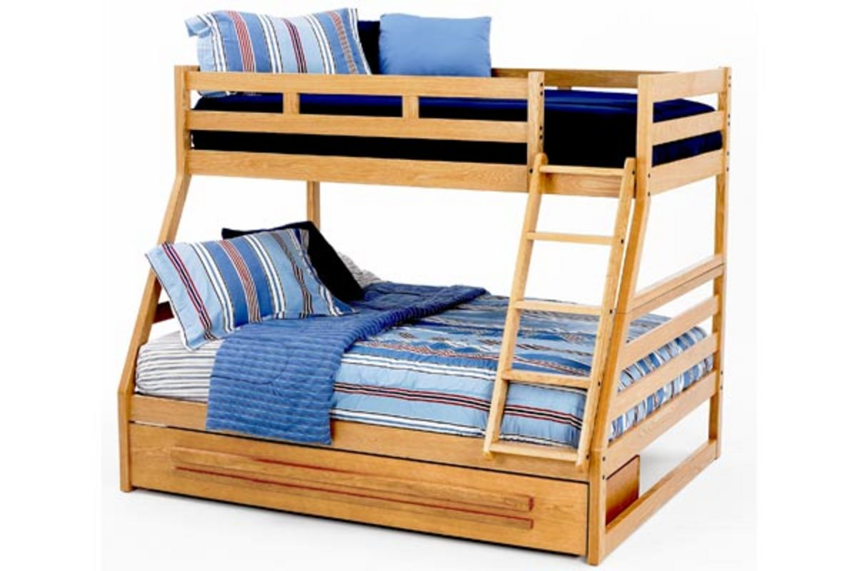 Oak crest twin full bunk bed with storage at gardner white for Gardner storage