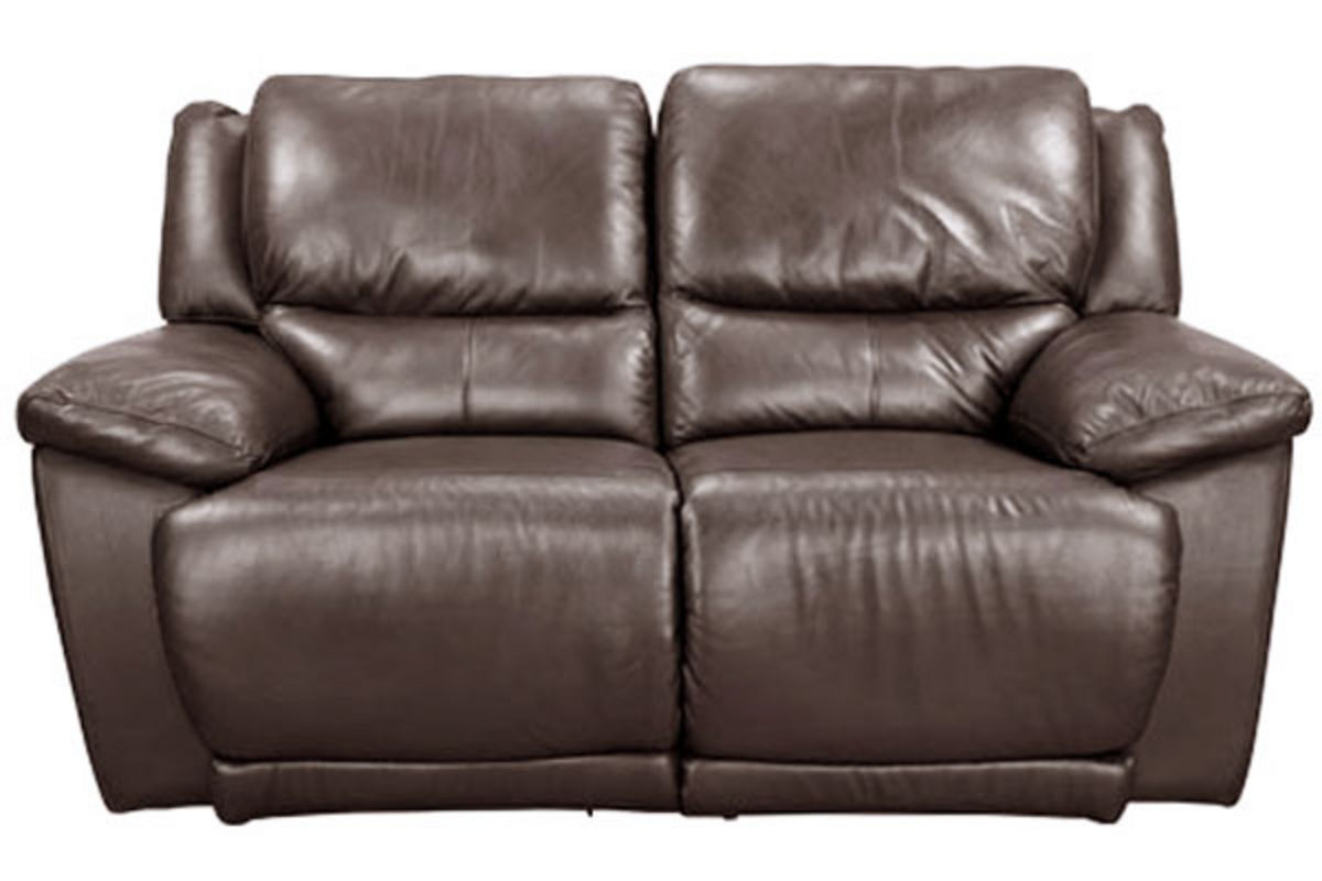 Delray brown leather reclining loveseat at gardner white for Furniture 60 months no interest