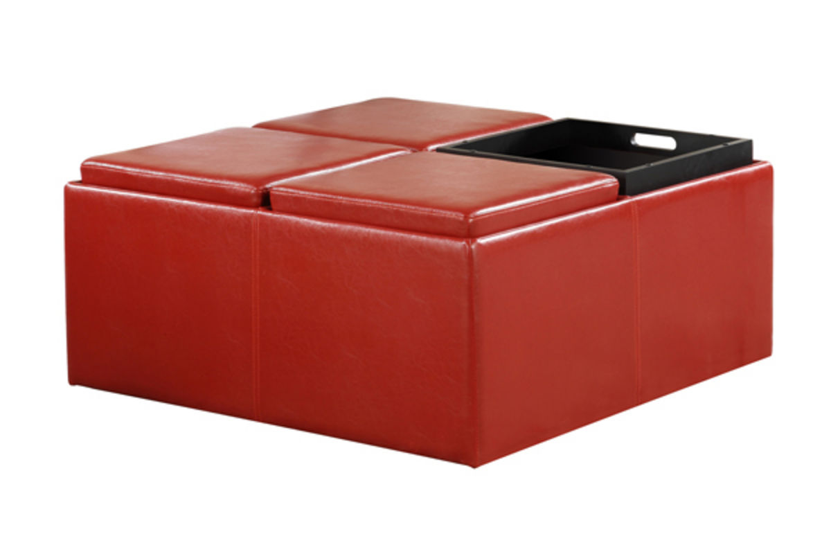 Red leather storage ottoman at gardner white for Gardner storage