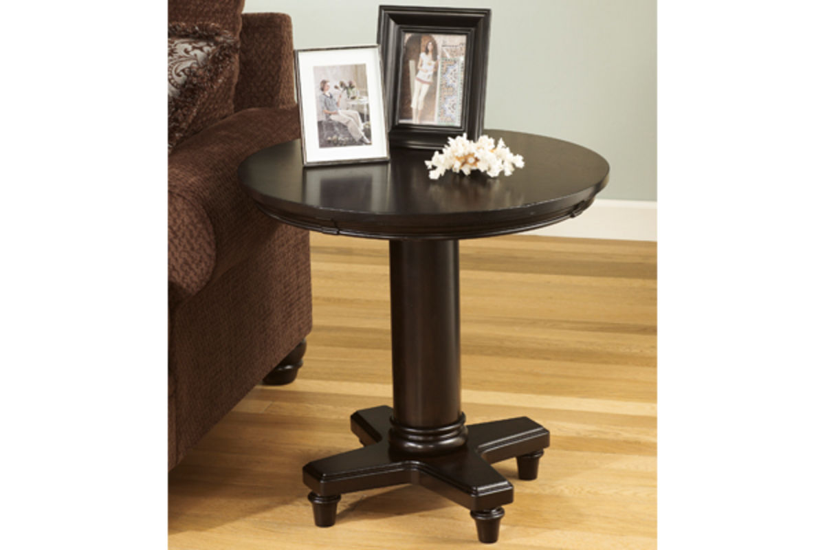 Milari Dark Brown Round End Table At Gardner White