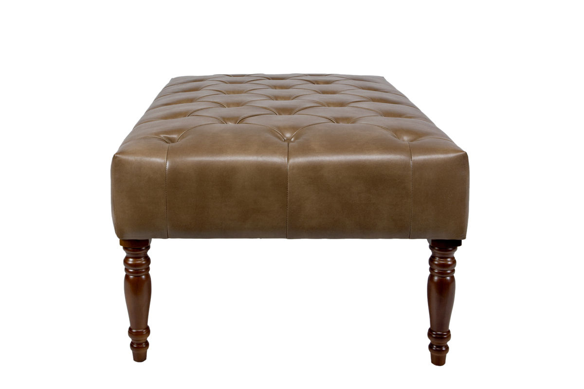 Tufted Cocktail Brown Leather Ottoman