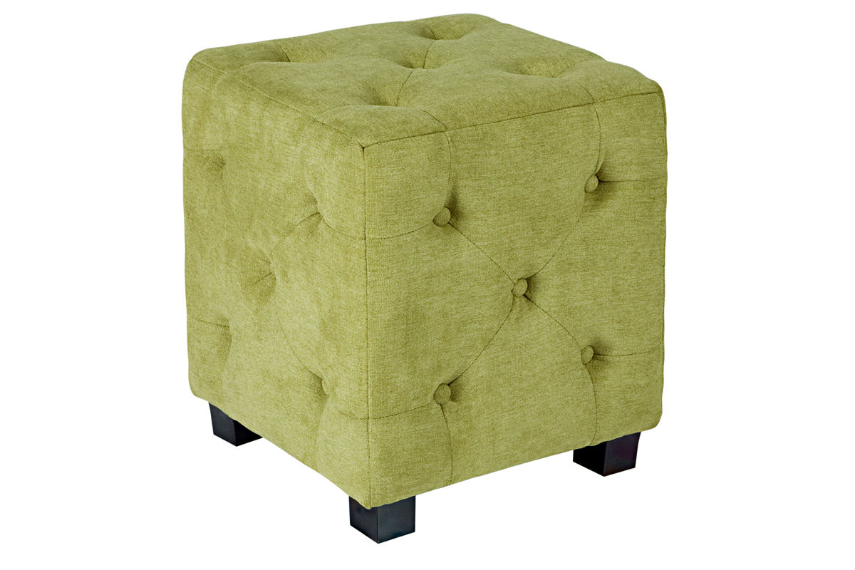 Duncan Small Tufted Green Cube Ottoman At Gardner White