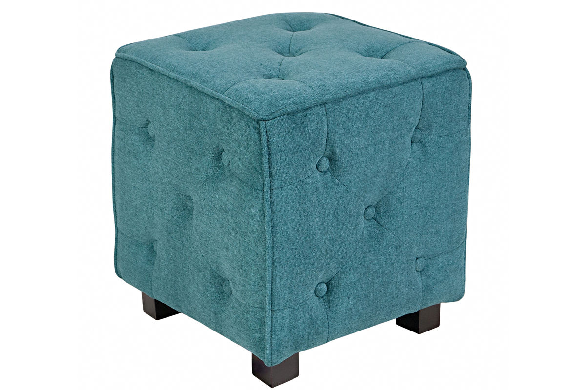 Duncan Small Tufted Teal Cube Ottoman At Gardner White