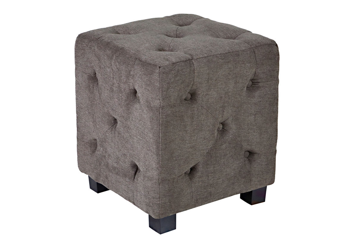Duncan Small Tufted Gray Cube Ottoman At Gardner-White