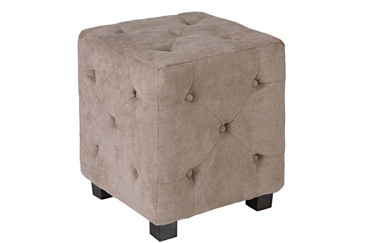 Duncan Small Tufted Tan Cube Ottoman At Gardner White