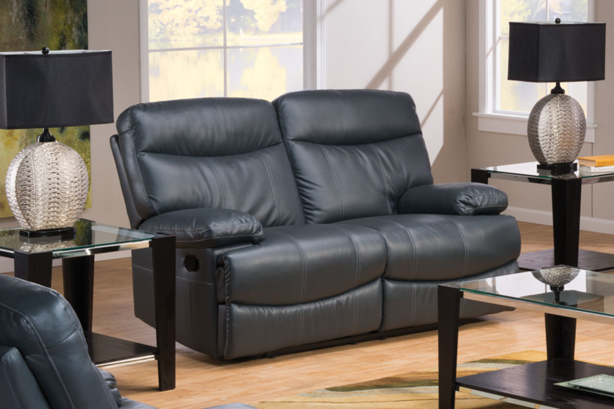 Apollo Grey Bonded Leather Loveseat At Gardner White