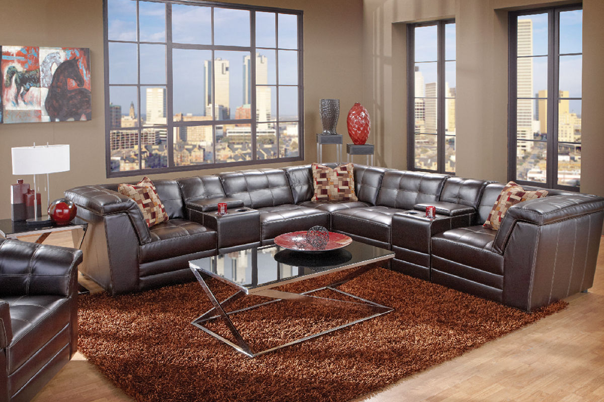 Bartek 7 piece bonded leather sectional at gardner white - Gardner white furniture living room ...