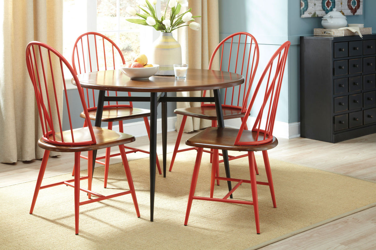 Shanilee Round Dining Table With Four Red Side Chairs At