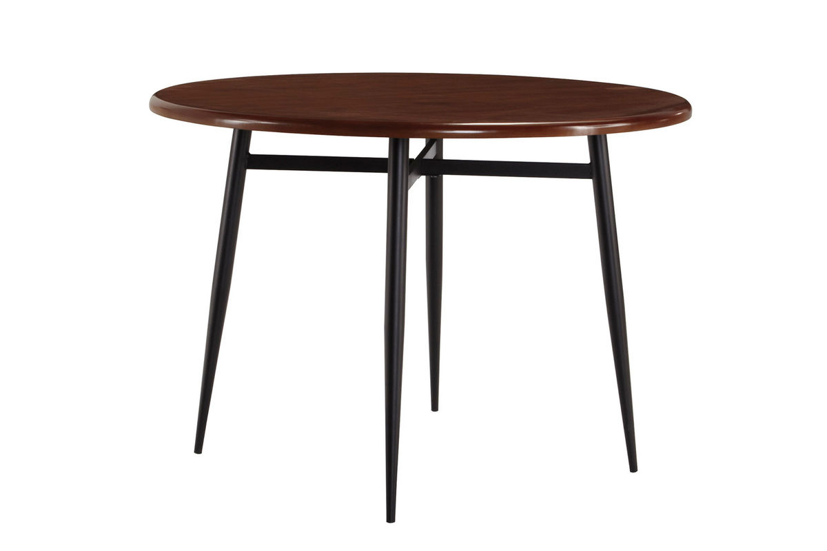 Shanilee round dining table with four red side chairs at for Red side table