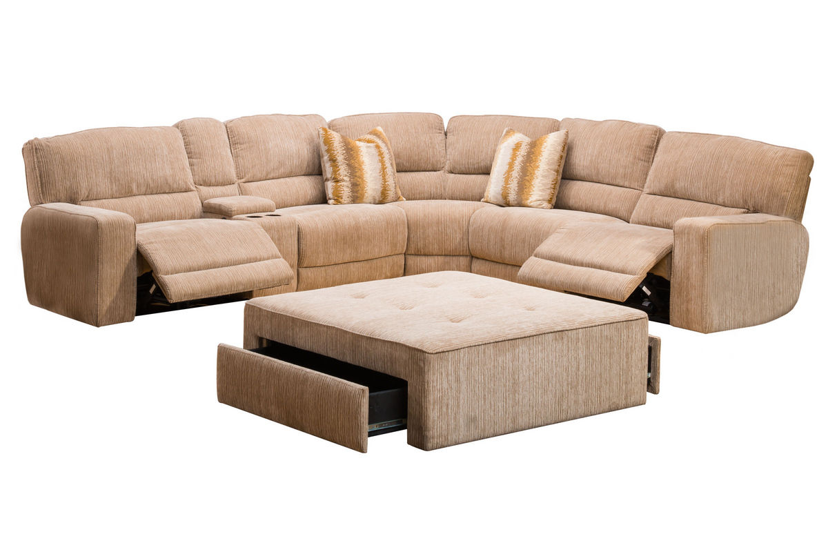 Ballard 4 piece power reclining sectional at gardner white for Sectional sofa with 4 recliners