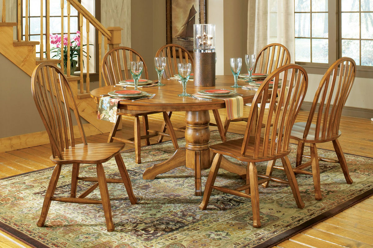 Wyatt country oak table chairs at gardner white
