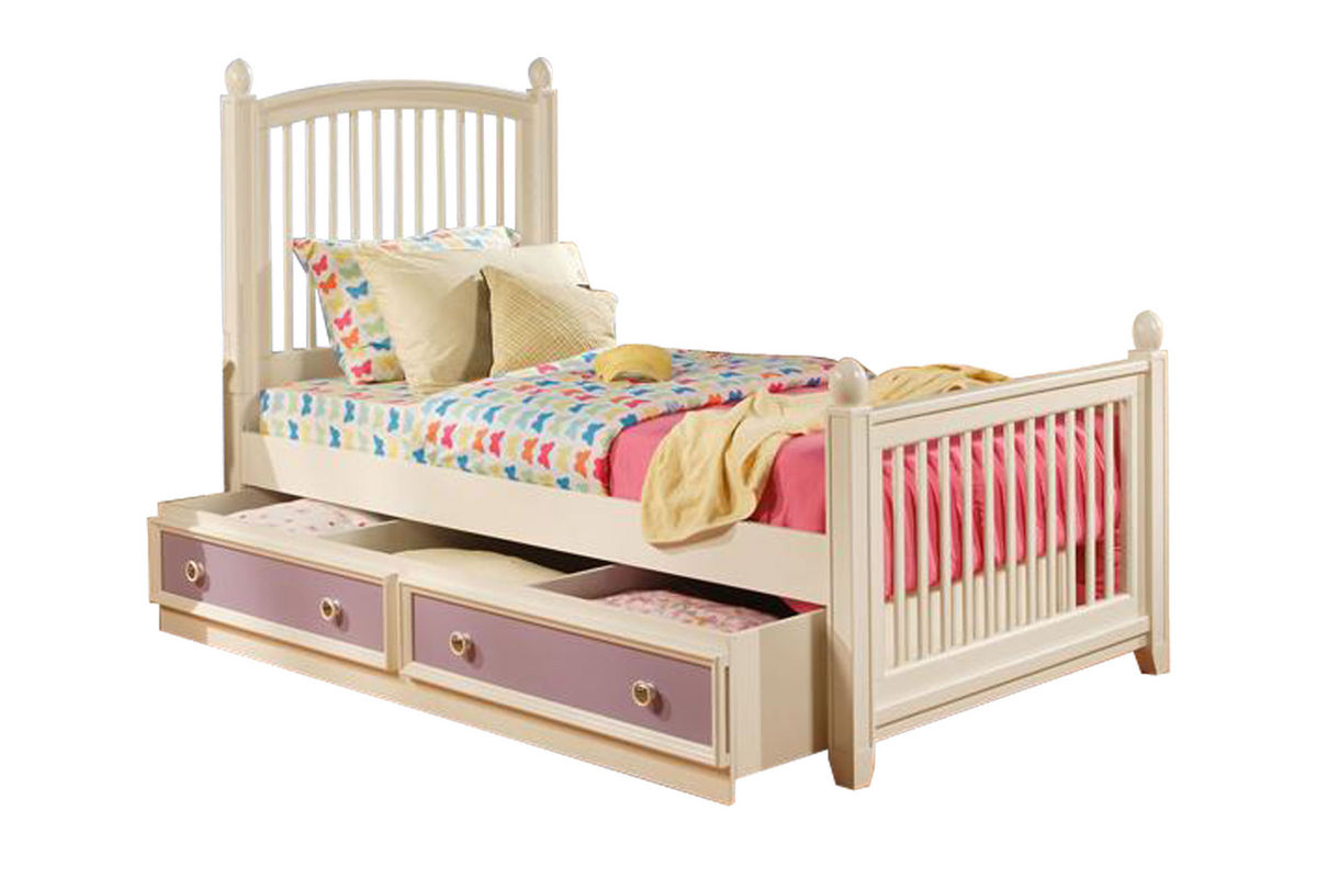 Jenny twin bed with trundle storage at gardner white for Gardner storage