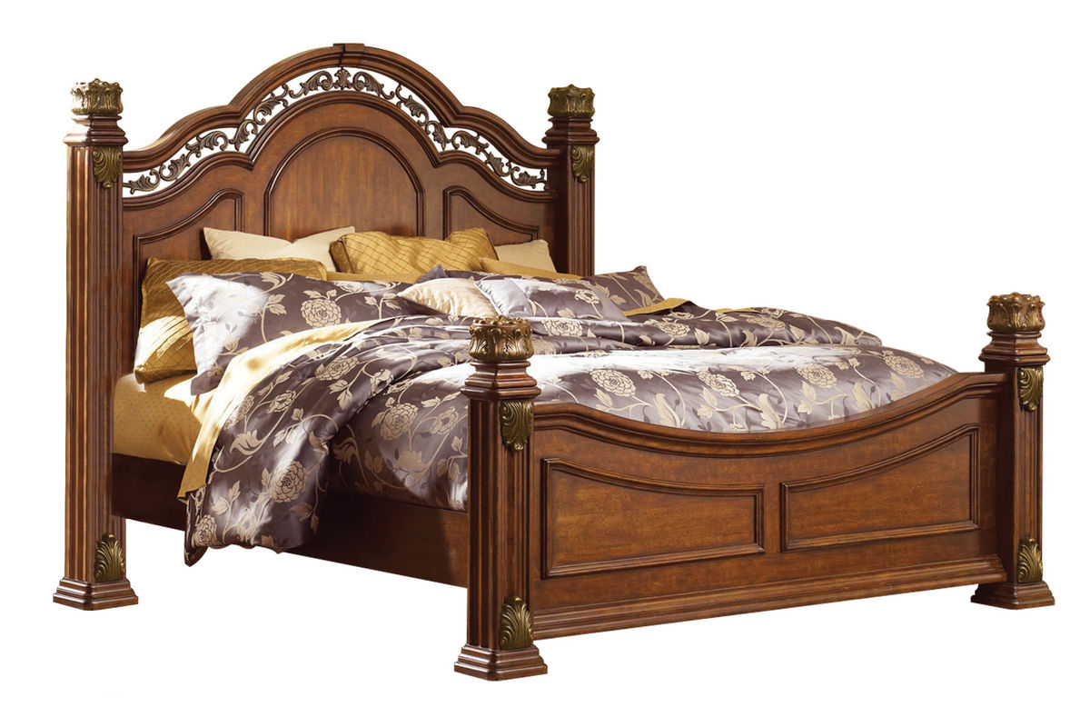 Maletto queen bed dresser with mirror nightstand at for Mirror queen bed