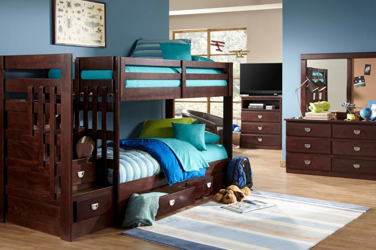 University twin stair storage bunk bed at gardner white for Gardner storage