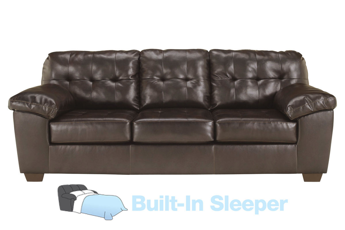 Alliston bonded leather queen sleeper sofa for Leather sleeper sofa
