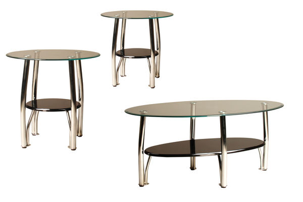 Black Glass Side Table: Black, Chrome & Glass Cocktail Table & 2 End Tables