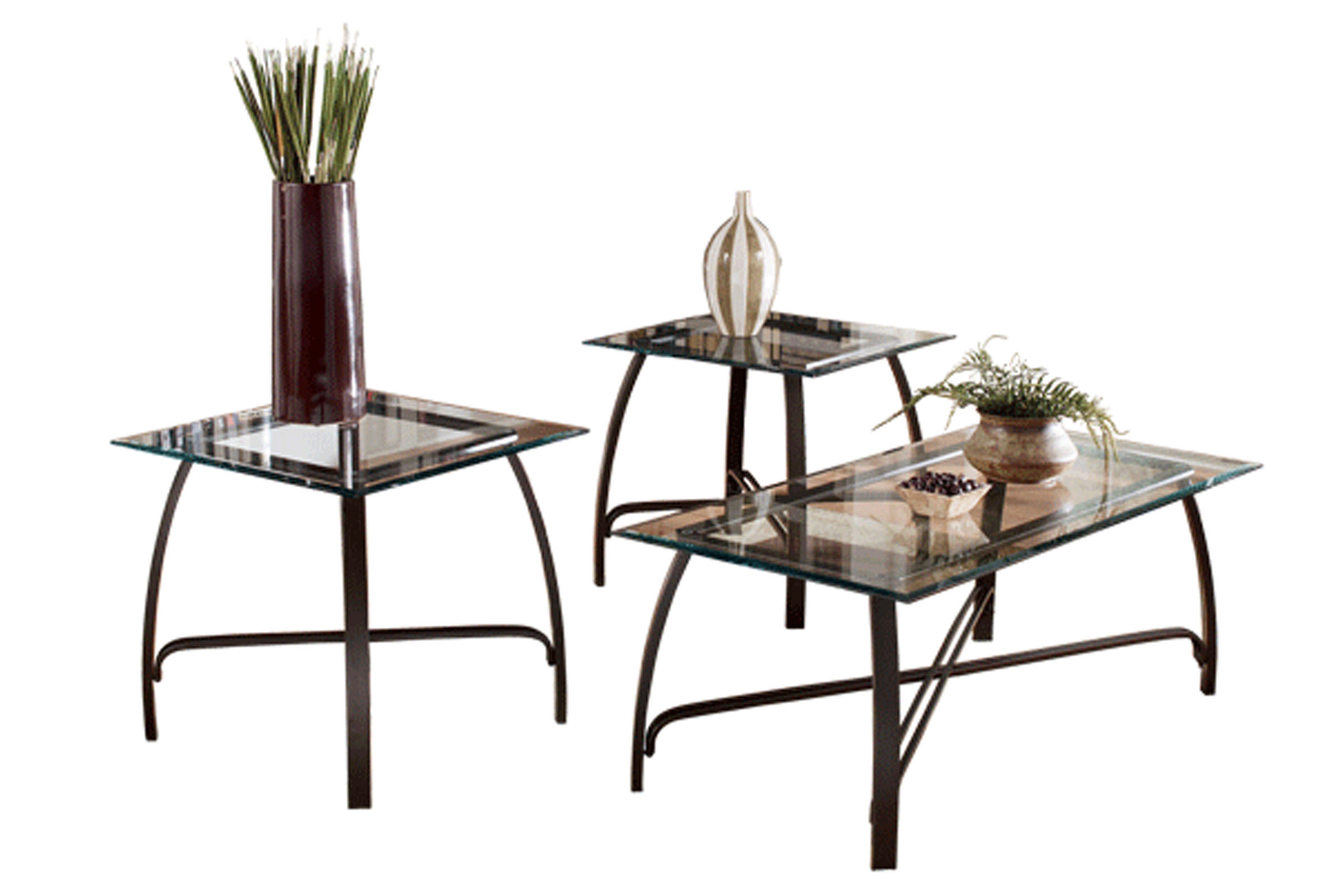 Bronze & Glass Cocktail Table & 2 End Tables