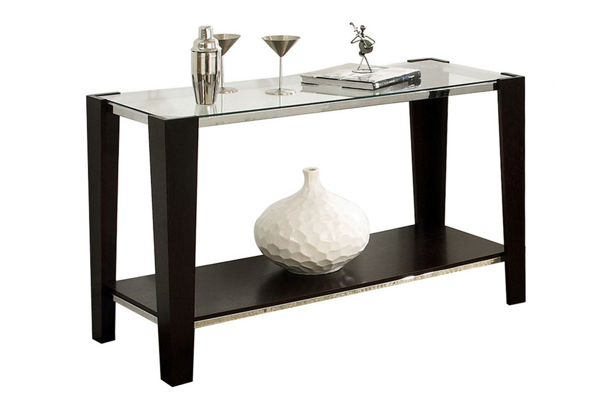 Espresso glass top sofa table at gardner white for White and glass console table