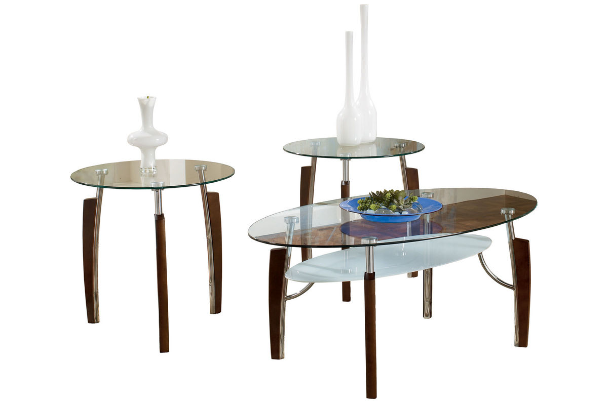 Modern wood glass cocktail table 2 end tables at for Wood and glass cocktail tables