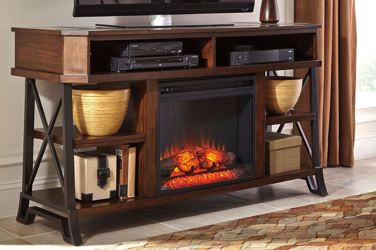 vinasville media stand with electric fireplace